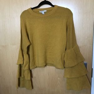 Mustard trumpet sleeve sweater